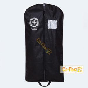 Чехол для вечернего платья чёрного цвета из спанбонда с окном